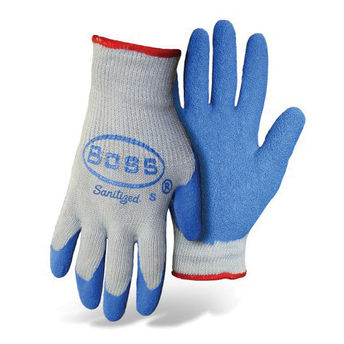 BOSS GRIP 8422M Non-Slip Gloves, M, Knit Wrist Cuff, Latex Coating, Cotton/Polyester/Rubber Glove, Blue/Gray