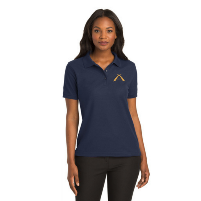 Navy women's silk touch polo with FASA logo