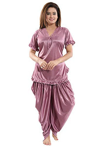 Fashigo Women's Patiala Top and Pyjama Set (Wine,Free Size)