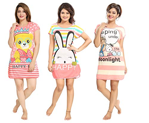 TUCUTE® Girtl's/Women's Hosiery Short Cartoon Print Nighty/Night Wear/Lounge Wear (Pack of 3)- Assorted Print