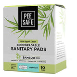 Pee Safe Organic Cotton, Biodegradable Sanitary Pads (Pack of 10, Overnight)