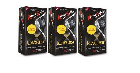 KamaSutra Long Last Condom - 20 Pieces (Pack of 3)