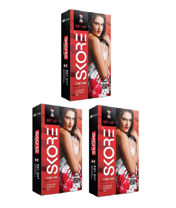Skore Not Out Climax Delay with 1500+ Raised Dots Condoms (30 S)