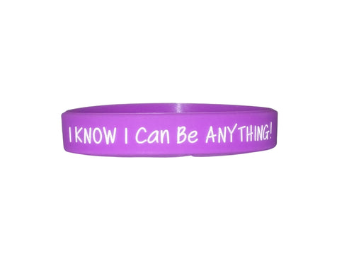 purple I know I can be anything silicone bracelet