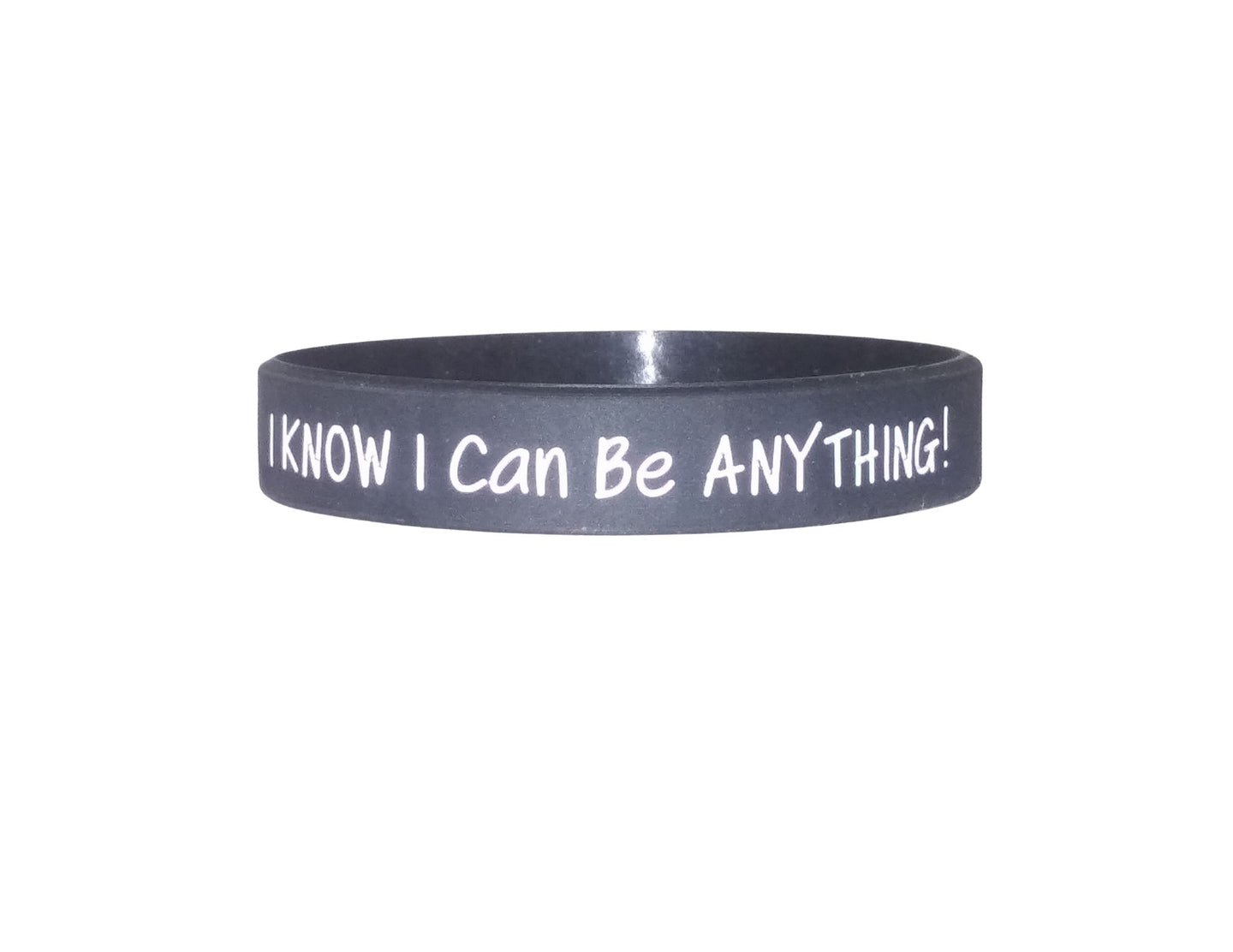 black I know I can be anything silicone bracelet