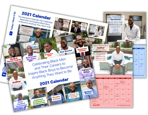 12 month 2021 career exploration wall calendar of black african American men with their job titles