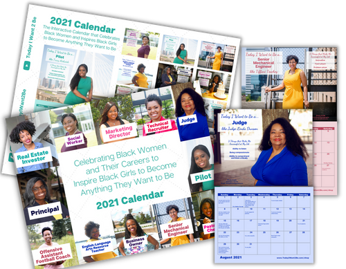 12 month 2021 career exploration wall calendar of black african American women with their job titles