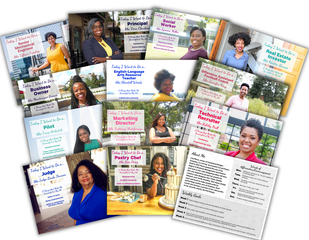 12 career exploration flash cards of black african American women with their job titles