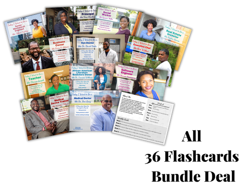 career exploration flash cards of black african American man and women with their job titles