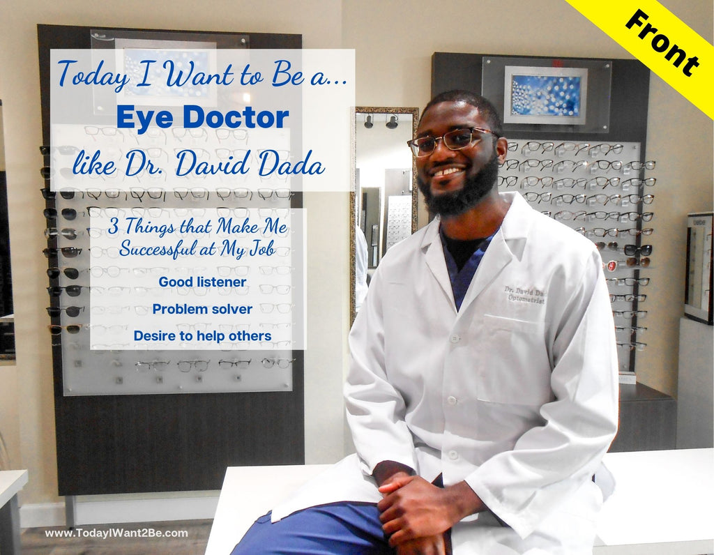 Front cover of flashcard of black man that is an eye doctor and lists 3 things that makes him successful