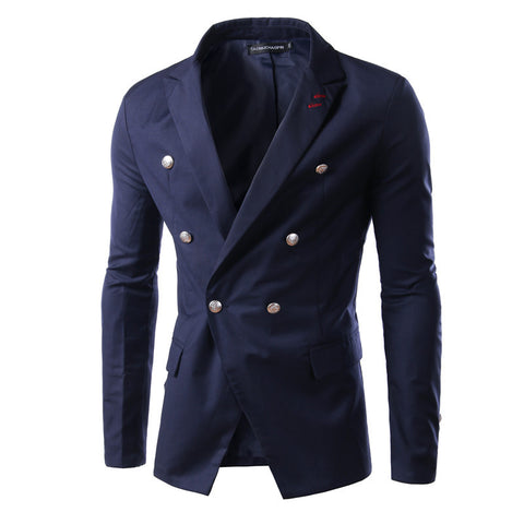 Double-breasted  Solid Blazer