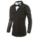 Men's Leather Sleeve Design Windbreaker