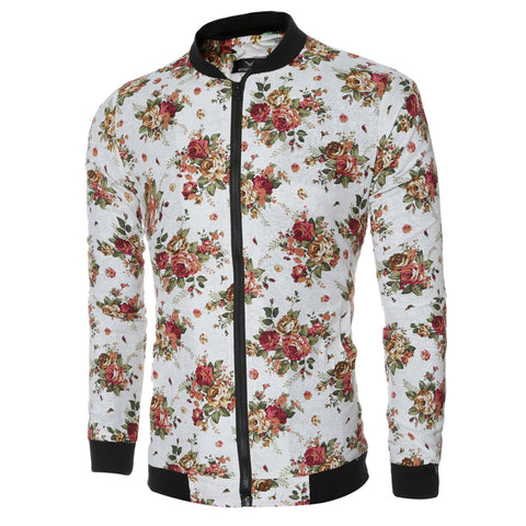 Autumn Winter Men 's Flower Printed jacket