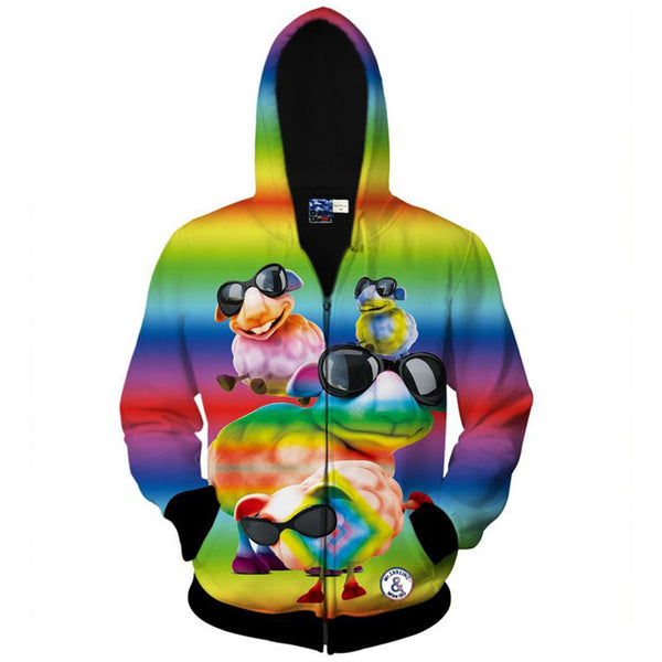 Rainbow Color Animal 3D Print Hoodies
