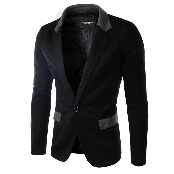 Casual Patchwork Blazer Men