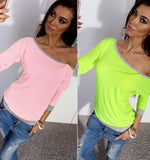 Candy-colored Casual Women's T-shirt