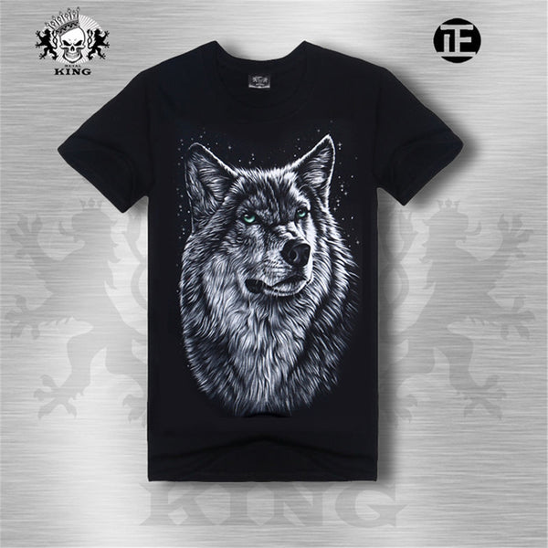 3D Trend Printed T-Shirt Gray Wolf 3D Design Mens