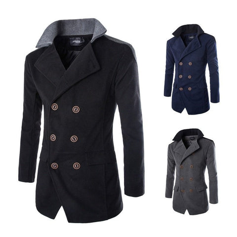 Coat - Patchwork Shoulder Double-breasted Coats