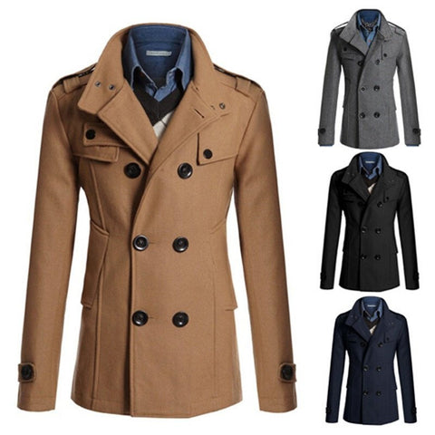 Coat - Slim Double-breasted Long Coat