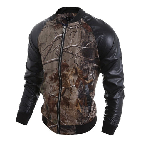 Jacket - 3D Print PU Patchwork Jacket