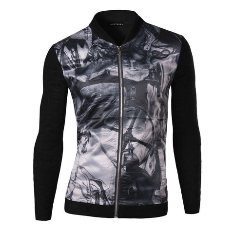 Jacket - Casual Patchwork Printed Jacket