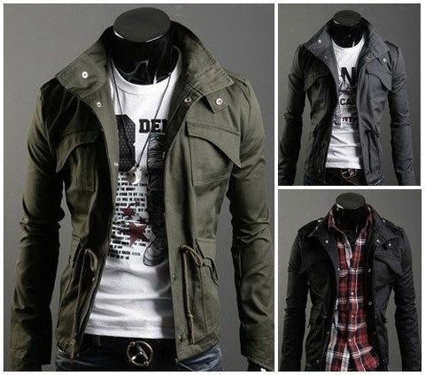 Jacket - Casual Slim Military Style Jacket