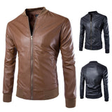 Jacket - Stand Collar Leather Jacket