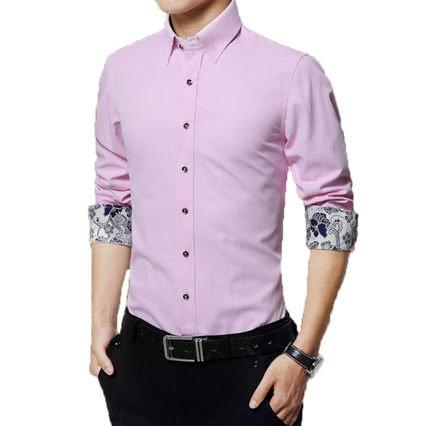 SOLID COLOR LONG SLEEVE MEN'S SHIRTS