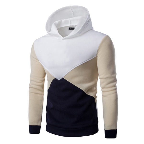 Hit Color Style Stitching Men Hooded Sweater