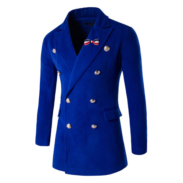 Autumn Winter Woolen Coat With Brooches