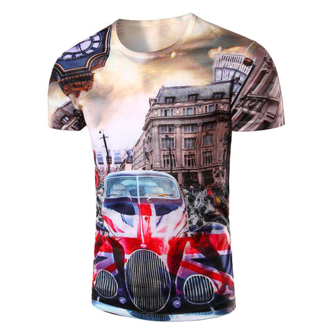British Style Short-sleeved 3D T-shirt