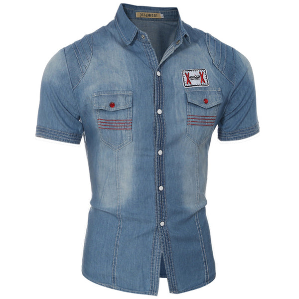 Summer New Style Slim Short-sleeved Denim Shirt