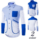 Shirts - Casual Patchwork Long-Sleeve Shirts