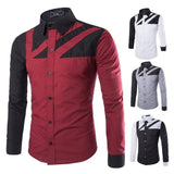 Shirts - Long Sleeve Men's Patchwork Shirt