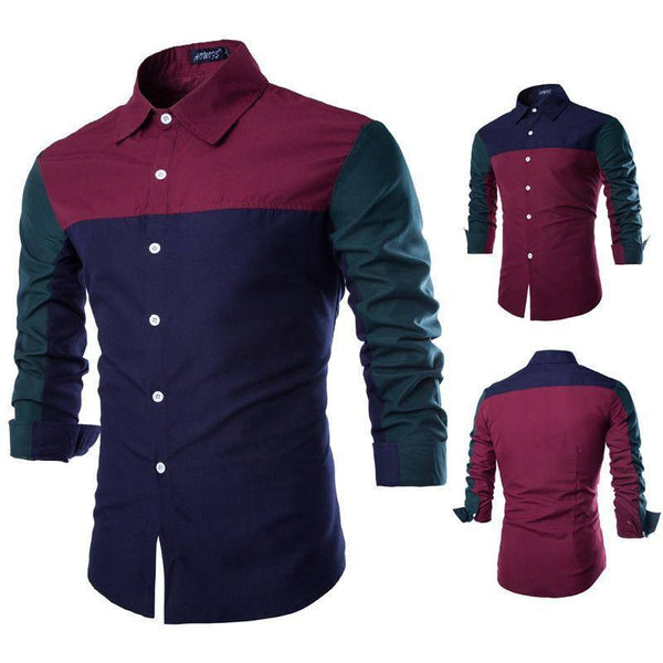 Shirts - Patchwork Men's Cotton Shirt