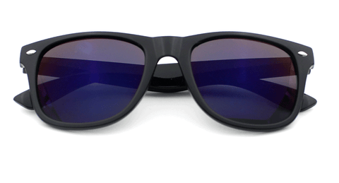 Sunglasses - Fashion Black Box Blue Mirror Sunglasses