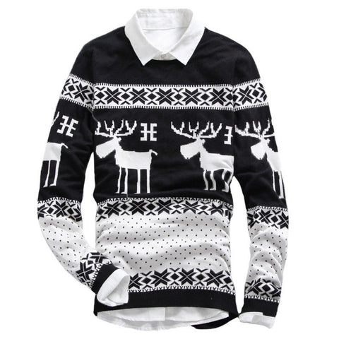 Sweater - Casual Deer Printing O-Neck Sweater