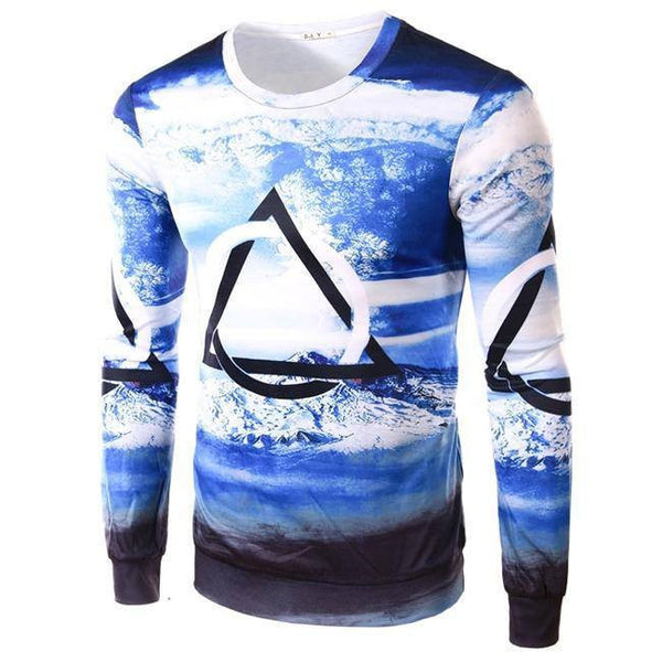 T-Shirt - Geometry Print Long Sleeve T-Shirt