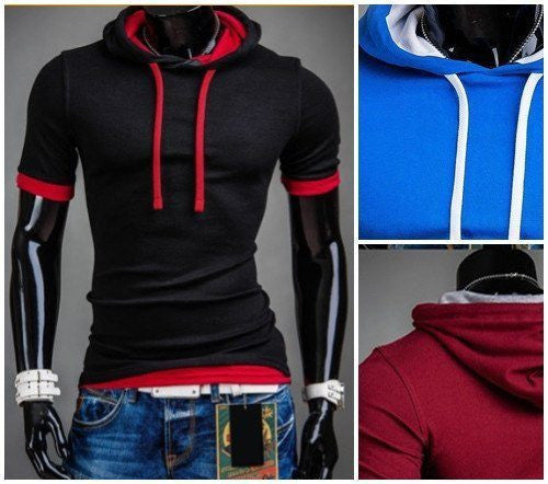 Tops - Hooded Patchwork T-Shirt