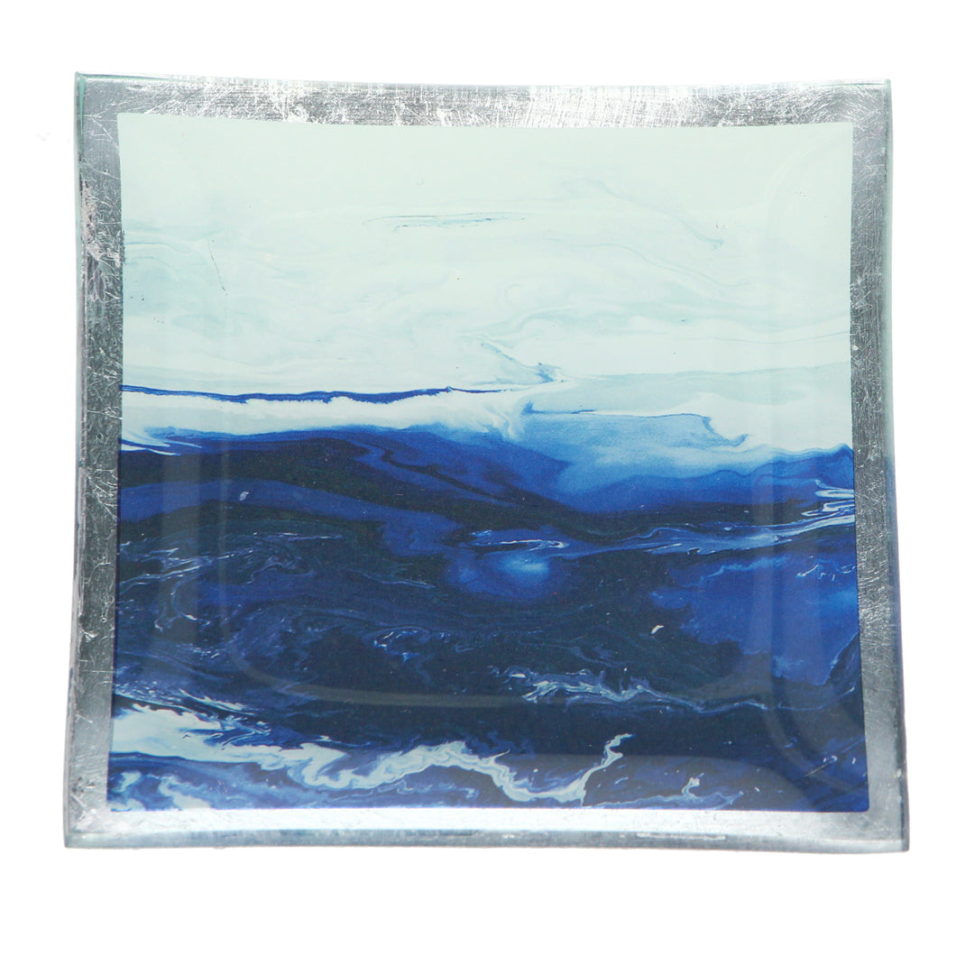 Gisela Graham Watercolour Ocean Scene Glass Plate - Square