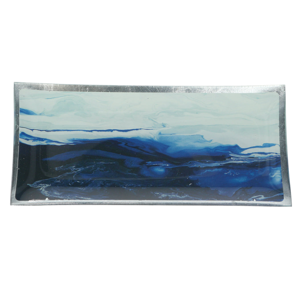 Gisela Graham Watercolour Ocean Scene Glass Plate - Rectangle