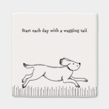 East of India 'Start Each Day With A Wagging Tail' Porcelain Dog Coaster