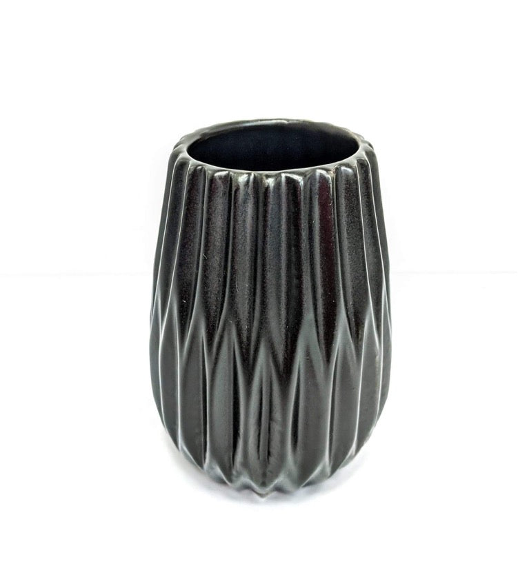 Short Black Ceramic Vase
