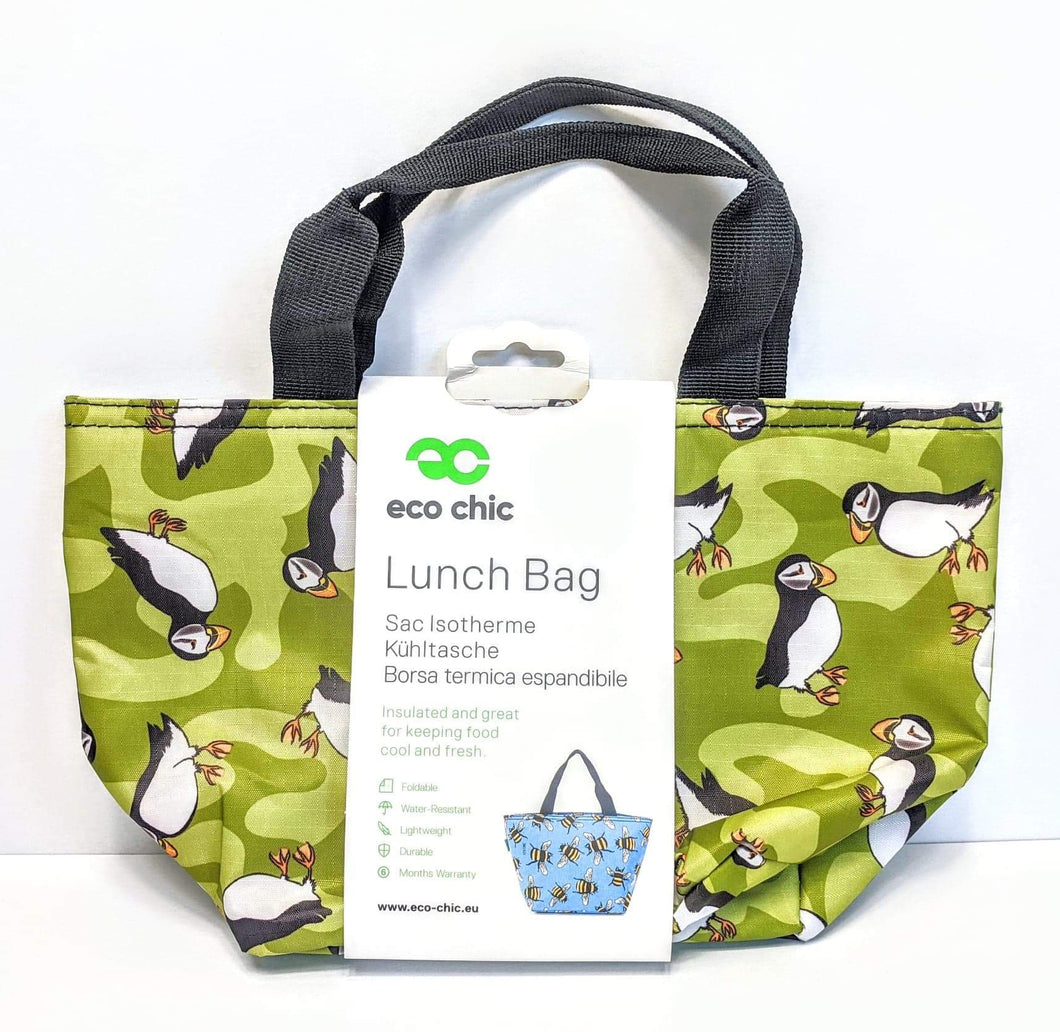 Eco Chic Green Puffin Lunch Bag