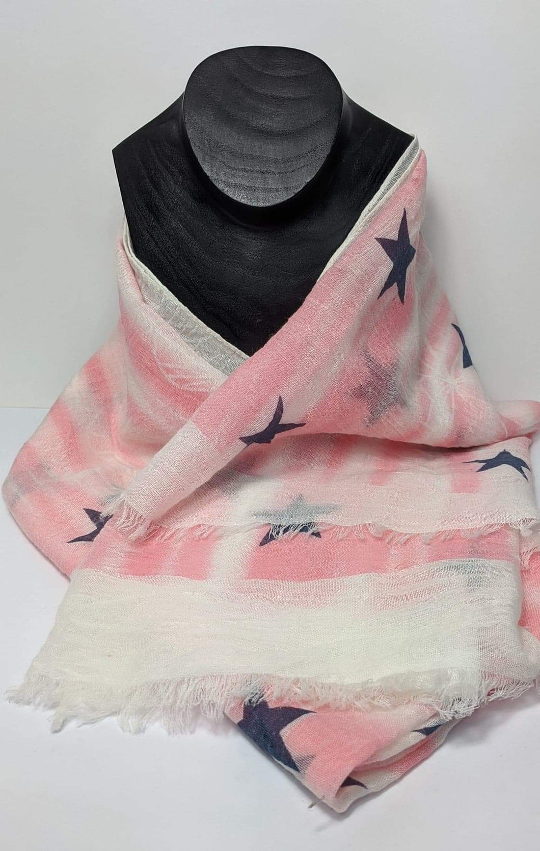 Pink, White and Navy Starry Scarf
