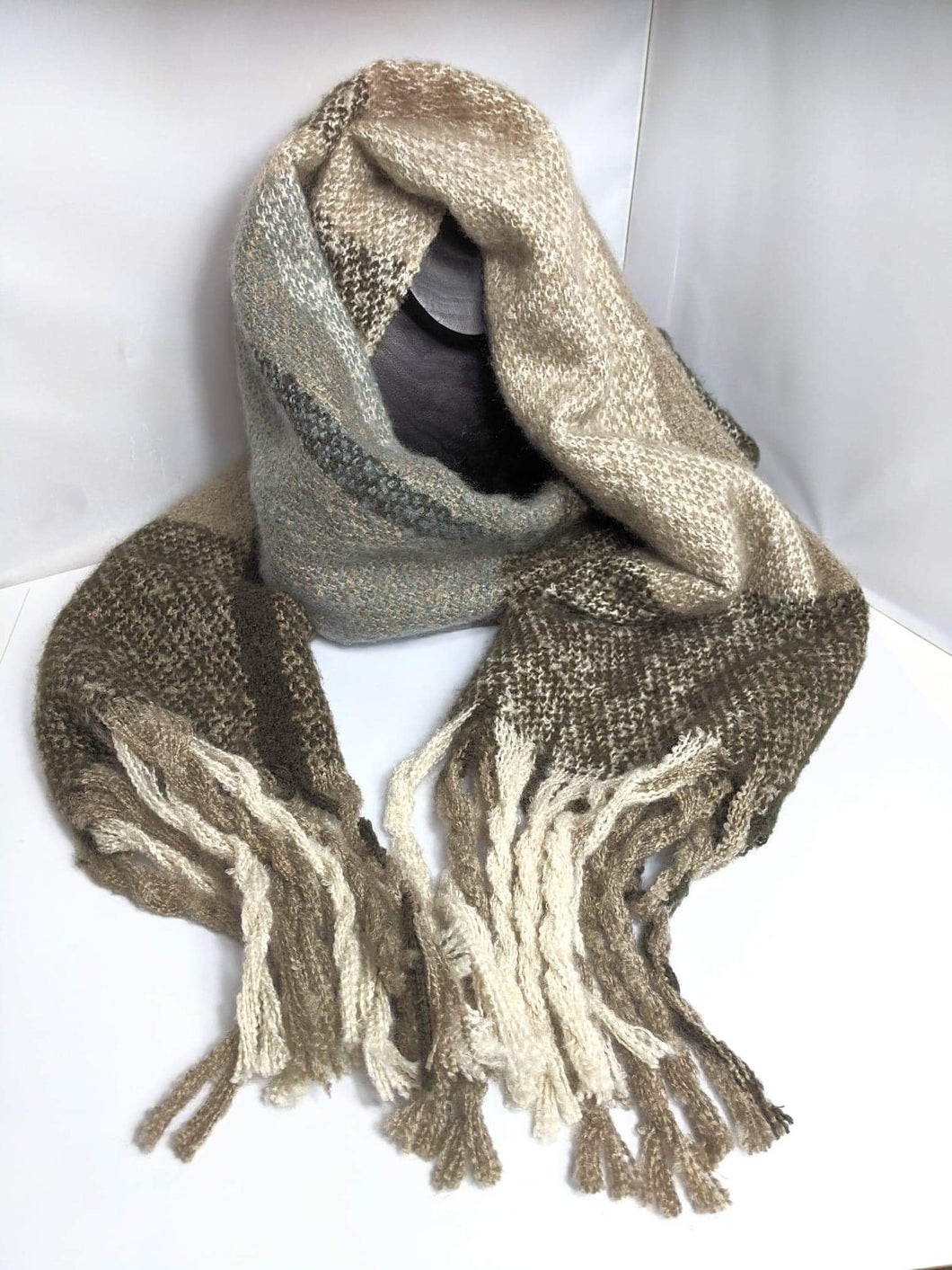 Mottled Brown and Cream Check Scarf