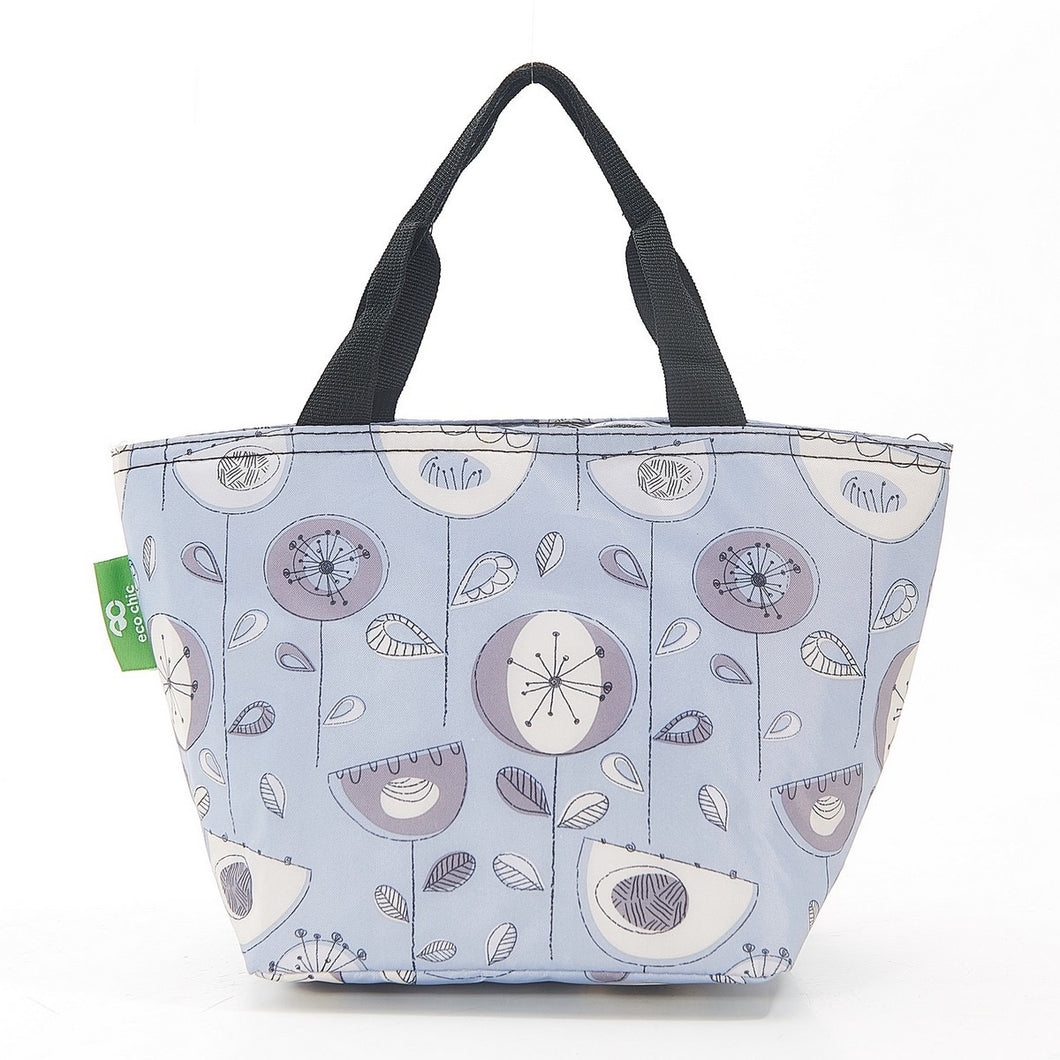 Eco Chic Grey 50's Flower Patterned Lunch Bag