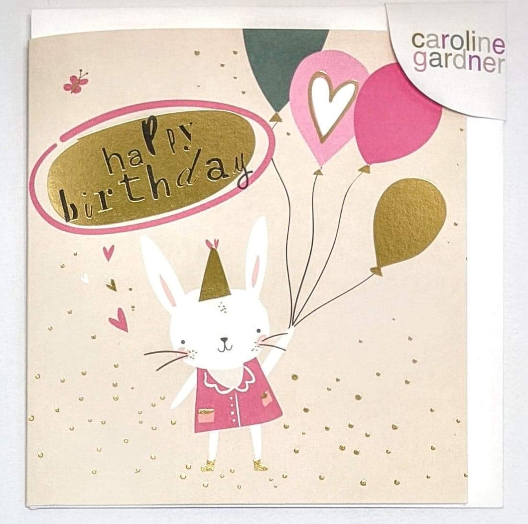 'Happy Birthday' Bunny with Balloons Caroline Gardner Greetings Card