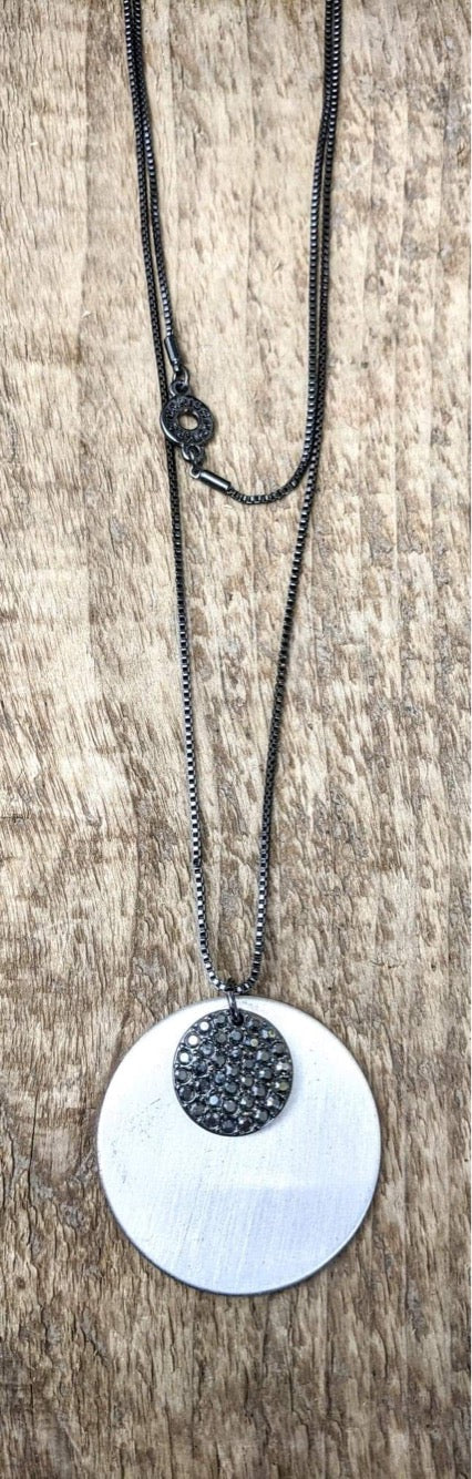 Pilgrim Hematite Disc Necklace With Double Chain