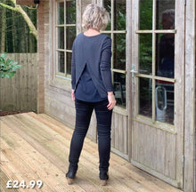 Load image into Gallery viewer, Fine Knit Grey Round Neck Top with Split Back Detail